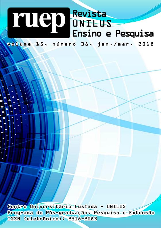 Capa da Revista UNILUS Ensino e Pesquisa, volume 15, número 18, janeiro-março de 2018